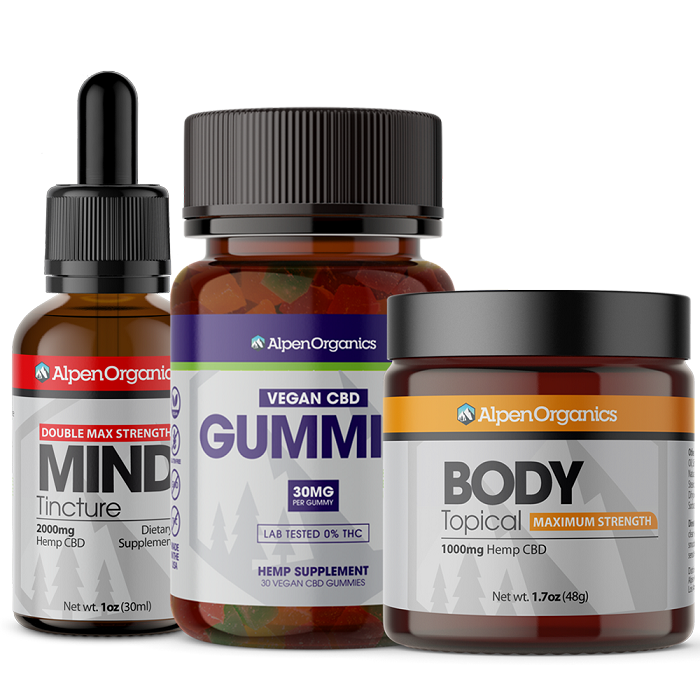 BUNDLE: Mind (Tincture) 2000mg + Body (Topical) 1000mg + Gummies (Vegan) 900mg